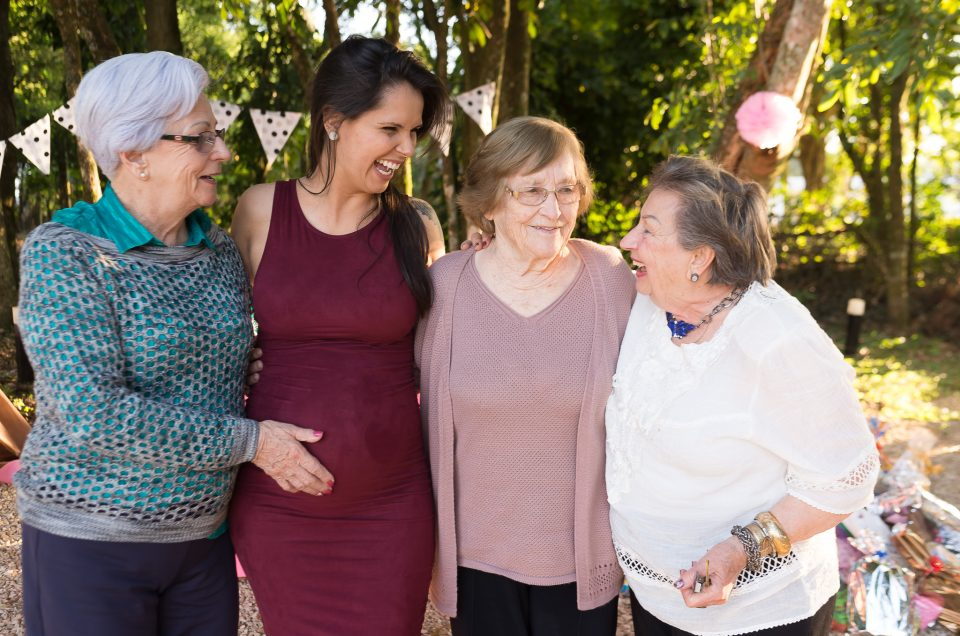 Grandmas and pregnant portait during Baby Shower Photography Outdoors